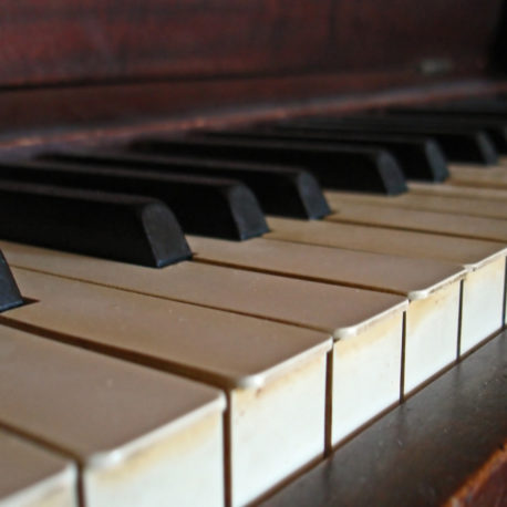 The keys on a piano keyboard